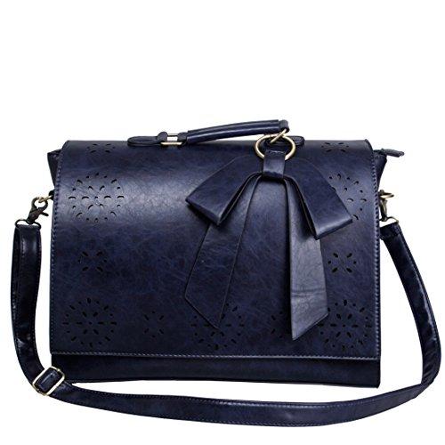 ECOSUSI Sac Cartable en Bandoulière pour Femme Sac à Main Vintage Sac d'Ordinateur Portable 14'' Sac Porté Travers Femme 37.5(L)*27(H)*10(W) cm(Bleu)