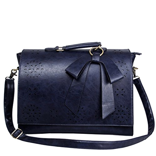 Ecosusi - Sac Bandoulière pour femme - Sac à main - Sac Cartable - Sac Vintage - Sac porté travers 37.5(L)*27(H)*10(W) cm(Bleu)
