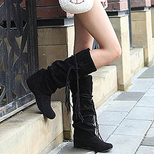 Stivali Donna Invernali, BeautyTop Autunno Inverno con Caviglia alla Piatta Stivaletto Boots Scarpe Cavaliere Stivali Nero
