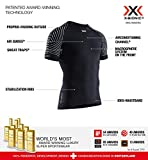 X-Bionic Invent Light Shirt Round Neck Short Sleeve Men, T Uomo, Opal Black/Arctic White, XL