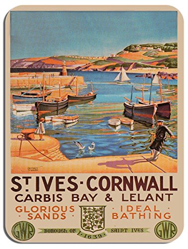 st-ives-cornwall-vintage-railway-poster-mouse-mat-carbis-bay-train-mouse-pad
