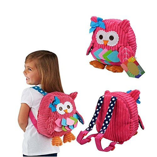 Luimode Babyrucksack Kindergartenrucksack kinder Rucksack Backpack Schultasche für 2-7Jahre Mädchen Jungen ,für Schule,Tier auswahlbar (Eule rosa)