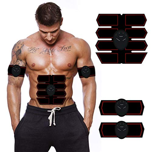 GXYGWJ Bauchmuskeln ABS-Trainer AB Gürtel EMS Smart Fitnessgeräte Home Office Faule Sport USB-Aufladung Bauchmuskelstimulator (Color : Black) -