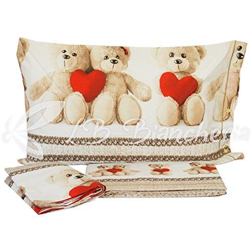 R.p. completo lenzuola in flanella orsetti teddy love - made in italy -cotone a trama fitta - letto 1 piazza e mezza