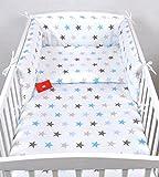 BABYLUX Bettwäsche Bezug 2 Tlg. 100 x 135 cm Kinderbettwäsche Bettwäsche Bettset Babybettwäsche (94. Sterne Blau)