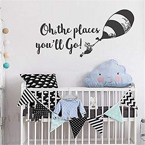 stickers muraux 3d paris Oh les lieux You'Ll Go Wall Decal, Sticker chambre d'enfant, décor de chambre d'enfant, citations pour enfants de ballon - Citations murales garçons ou filles