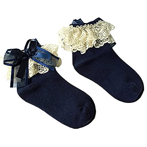 Bluelans® Baby/Girls Blue Soft Lace Ruffle Frilly Ankle Socks Fashion Princess Girl Gift (Small (Age 1-3), Blue)