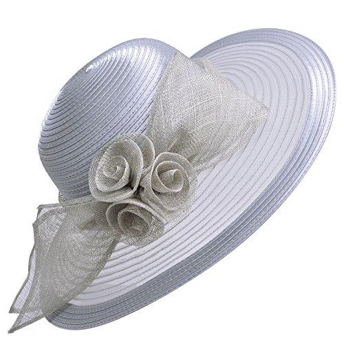 Lawliet Damen, Kirche, Hochzeit, Kentucky Derby, breite Krempe, Sonnenhut, formeller königlicher Ascot Hut Gr. Einheitsgröße, grau (Damen-krawatte-hut)