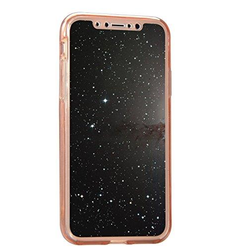 iPhone X (iPhone 10) Hülle,Vandot iPhone X (iPhone 10) 5,8 Zoll Hülle TPU Case Schutzhülle Silikon Crystal Case Durchsichtig,Glänzend Glitzer Kristall Mädchen Fee TPU Silikon Schutz Handy Hülle Case T Klar Rosa