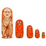 Fine Craft India Set of 5Pcs Hand Painted Gandhi with 3 Monkey and Indian Flag