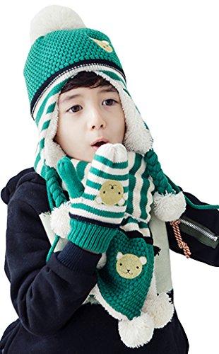 Bigood 3 Pièces Packs Bonnet Echarpe Gants Enfant Chapeau Ours Cache Oreilles Cou Hiver Anniversaire Vert