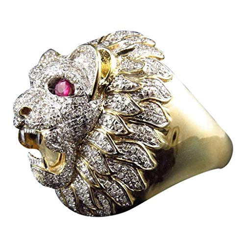 n Punk Style Löwenkopf Gold gefüllter natürlicher Rubin Edelstein Diamant Ring (Color : T 1/2) ()
