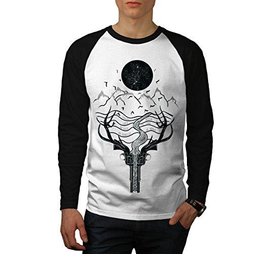 wellcoda Weiß Mond Nacht Männer L Baseball LS T-Shirt