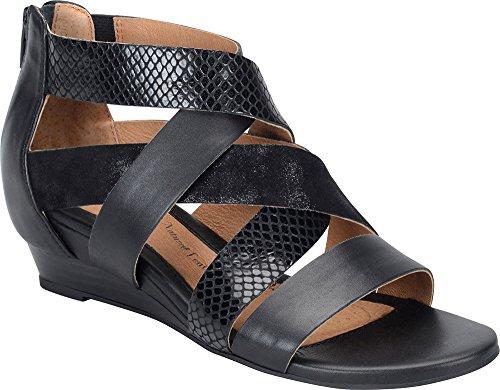 Sofft Rosaria Breit Leder Keilabsätze Sandale Black