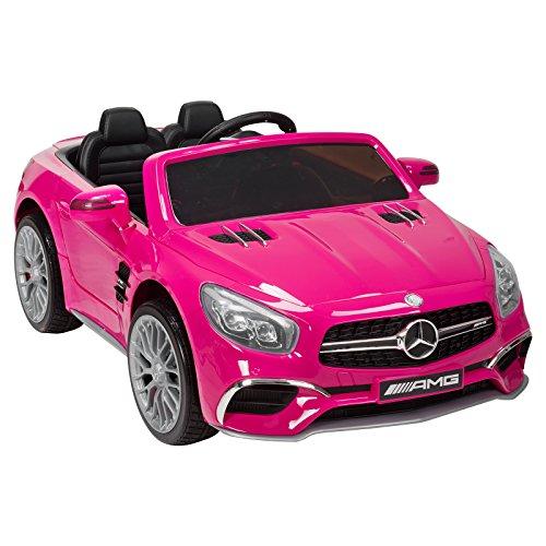 UEnjoy Mercedes-Benz Kinderauto Kinderfahrzeug Elektro Spielzeug 12V Power Räder Lizenziert SL65 AMG Roadster Kinder Fahrt-on Auto Electric w / Fernbedienung 3 Geschwindigkeiten LED-Leuchten (Rosa)