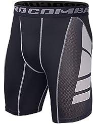Hivexagon Pantalones Cortos de Compresión de Media Pierna para Deportes, Correr y Entrenamiento de Gimnasio SM008GYL