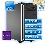 M&M Computer High End Silent Gaming PC, Intel i9-9900K CPU Eight-Core, NVIDIA GTX1070 8GB Grafikkarte, 256GB SSD M.2 (NVMe), 4 TB HDD, 16GB DDR4 3000MHz, Windows 10 Pro