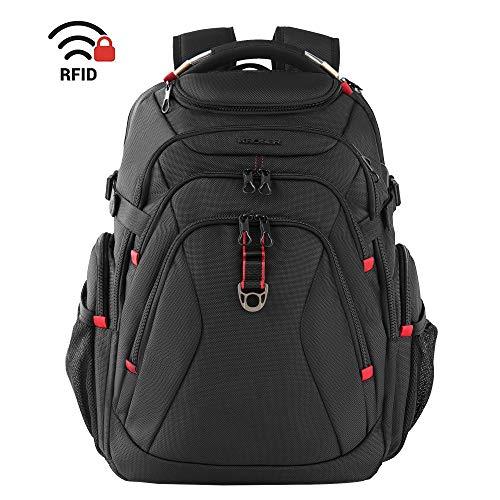 KROSER Schule Laptop Rucksack 17,3 Zoll Reise XL Schwerlast Daypack Business Wasserdicht mit Hartgeschältem Sicherheitsraum Ladeanschluss RFID Tasche für Männer/Frauen/College-Schwarz MEHRWEG