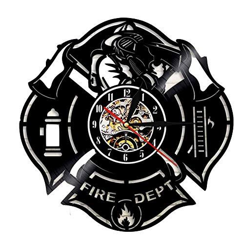 feuerwehr wanduhr WANGXN Vinyl Wanduhr Feuer Werkzeugmuster Feuerwehr Wanddekoration Wanduhren,Black,30CM