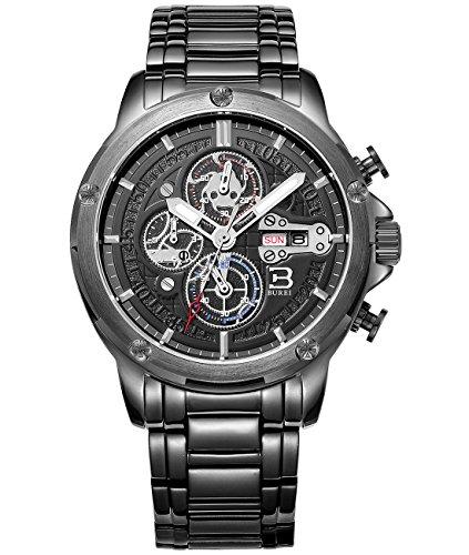 BUREI Herren Armbanduhr Chronograph Tages und Datumsanzeige Multifunktion Stoppuhr Edelstahlband