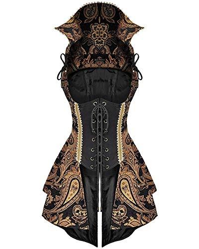 Devil Fashion Damen Steampunk Weste Korsett-Kleid Schwarz Gold Gothik Piraten - Schwarz, XXL - UK Womens Size 16 (Weste Damen Steampunk)
