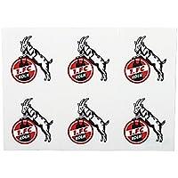 1. FC Köln Aufkleber, Autoaufkleber, Sticker 6er Set Hennes - Plus gratis Lesezeichen I Love Köln