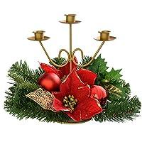 f1b68c6b31 WeRChristmas-Decorazione Natalizia con Agrifoglio, 22 cm, Motivo: Foglie e  Fiori, Supporto per Tre Candele; Decorazione Natalizia, Colore: Rosso/Oro
