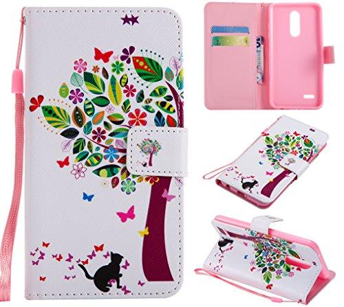 CMID LG K11 Hülle, LG K10 (2018) Hülle, PU Leder Brieftasche Handytasche Flip Bookcase Schutzhülle Cover [Kartensteckplatz][Ständer][Handschlaufe] für LG K11 / LG K10 (2018) (C-01)