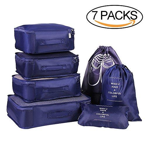 Vamei 7 Set Verpackung Würfel Reisegepäck Organizer mit Unterwäsche Tasche und Schuhe Tasche für weitermachen (Blau) (Kordelzug Veranstalter)