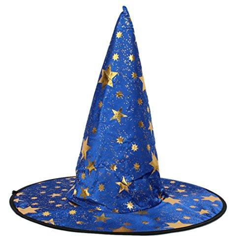 HCFKJ 2017 Mode Halloween Erwachsene Frauen MäNner Hexe Hut FüR Halloween KostüM ZubehöR Sterne Print Cap (blau)