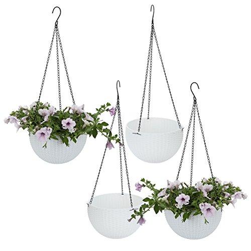 ComSaf Hängepflanztopf Weiß Kunststoff Rattan Design Packung mit 4, Hängeschale für Balkon Hanging Hängeampel Pflanzkorb Sphere Blumenampel Moderner Dekorativer Aufhänger-Topf