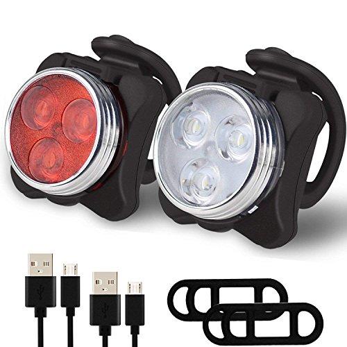 LED Fahrradlicht Set, USB Wiederaufladbare Frontlicht und Rücklicht Set, LED Fahrradbeleuchtung Aufladbar Akku, Fahrradlampe Fahrrad Vorderlicht, 4 Licht-Modi, 2 USB-Kabel für Mountainbike