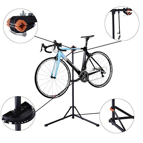 HOMCOM - Cavalletto Supporto per Riparazione e Manutenzione Bicicletta in Ferro e PP 85 x 59 x 100-159cm