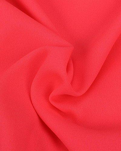 ZANZEA Femme Sexy Mousseline Double Creux Fleurs Ardentes Vague Bord 3/4 Manches Blouse Rouge
