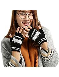 Guantes sin dedos con calefacción (USB 2.0portátil media y dedo completo invierno caliente calentador de manos guantes de lana para mujer hombre adolescente niños niñas adolescentes