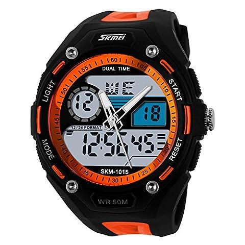 UNIQUEBELLA Climbing Dive 50m Waterproof Quartz Sport Alarm Wrist Watch, Date and Day Japan Quartz Led Light Men Wrist Analog-Digital Bracelet