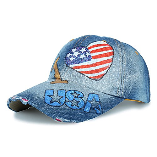 Unisex Classic Vintage I Love USA American Flag Printing Washed Denim Baseball Cap Adjustable Low Profile Dad Hat