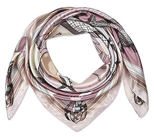 iAmotus SMILE Seidenschal Damenmode Muster große quadratische Satin Kopftuch für Damen im Sommer Herbst (Pink Rim) Pink Rim