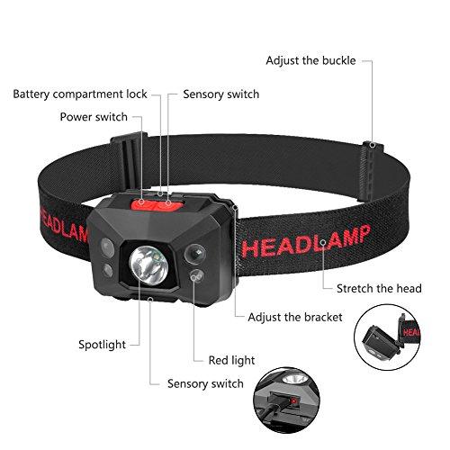 Stirnlampe LED, USB Wiederaufladbare Kopflampe Wasserdicht Leichtgewichts stirnlampen Perfekt fürs Joggen, Laufen Campen Angelnund Radfahren, für Kinder und mehr - 2