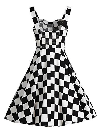 Dresstells Version5.0 Vintage 1950's Audrey Hepburn robe de soirée cocktail avec bretelles Damiers
