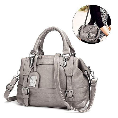Frauen Leder Handtasche, JOSEKO Retro Öl Wachs Kunstleder Umhängetasche Crossbody Tasche für Damen Grau
