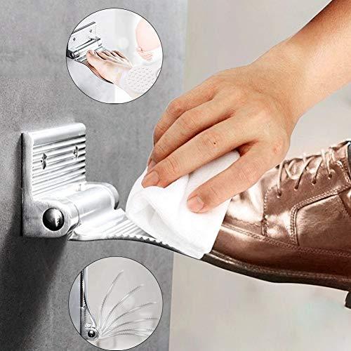 DUODUO Fußstütze dusche fußstütze perforiert fußstütze verstellbar geeignet zum Rasieren von Beinen für den Einsatz im Bad und neben dem Schuhschrank(Silber,schwarz) Silver