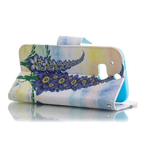 im Design Embosse Stand Bookstyle Schmetterling Slim HTC Tier Wallet Embossed für Schwarz Baum Schutzhülle Tier Case Premium Bunt Lila Muster Flip TOCASO Ledertasche Gemalt M8 Rose Lederhülle Kat Hülle Gemalt Blumen One cUx8Swcqf4