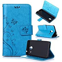 Beiuns Funda de PU piel para Microsoft Lumia 640 XL / Lumia 640 XL Dual-SIM (5,7 pulgadas) Carcasa - R149 azul hermoso
