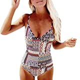 IMJONO.Frauen Badeanzug Push-Up gepolsterte BH Drucken Badebekleidung Jumpsuit(Mehrfarbig,Medium)