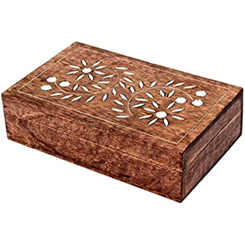 Store Indya, Espejo decorativo de madera con incrustaciones de joyeria de usos multiples cajas de joyas hechos a mano del organizador del