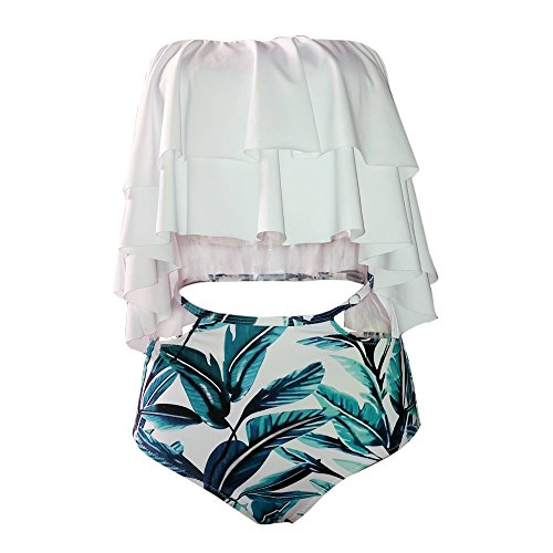 Baumwolle Spandex Bikini (ASSKDAN Damen Damen Bandeau High Waist Bikini Set Bademode Swimwear Badeanzug (EU 42, Weiß))