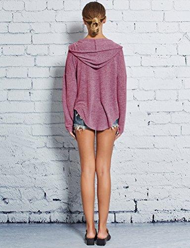 Nlife Frauen Kalt Schulter Seite Split Langarm Bluse Tunika Shirts Rosy