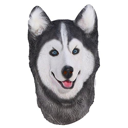 Auspicious beginning Siberian Husky Latex Tier Hund Kopf Maske, Neuheit Kostüm Gummi Masken