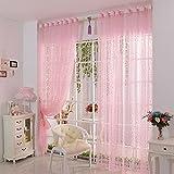 Tongshi Imprimir cortina de puerta de la flor de la gasa de la cortina del tabique ventana Habitación bufanda (rosa)